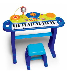 "Vaikiškas žydras pianinas su mikrofonu ir kėdute ""Light+up Keyboard with Stool"""